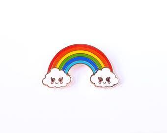Rainbow cloud hard enamel Kawaii pin