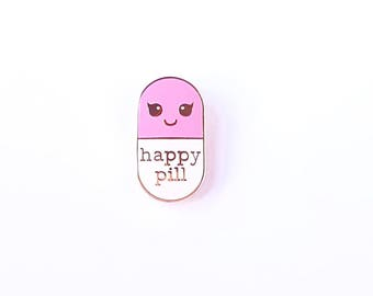Happy pill white/pink hard enamel Kawaii pin