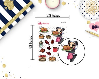 Thanksgiving Stickers - MeiMei Holiday Stickers - Kawaii Thanksgiving Stickers - Turkey Stickers - Happy Planner - Life Planner