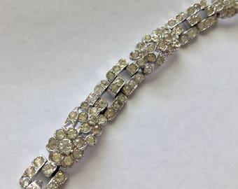 Vintage Crown Trifari clear Rhinestone Floral Bracelet
