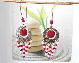 bronze Pearl Earrings Red