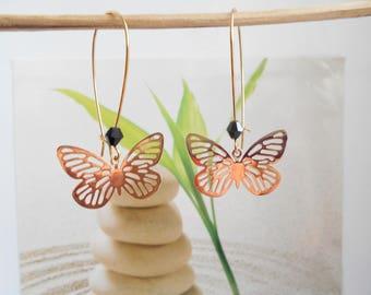 Earrings Golden Butterfly print
