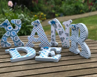 20cm ~Baby boy~personalised~wooden letters~elephant nursery decor~free standing~wall hanging~custom made~green blue white~baby shower decor
