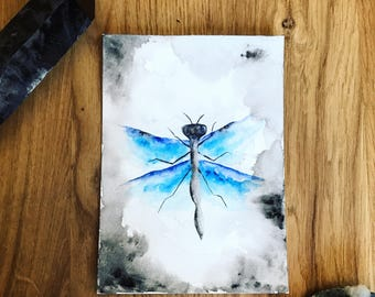 Dragonfly. Original Watercolor Painting.