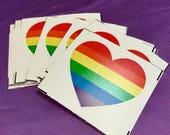 Rainbow pride heart sticker / Gay pride sticker / Vinyl sticker / Weatherproof sticker