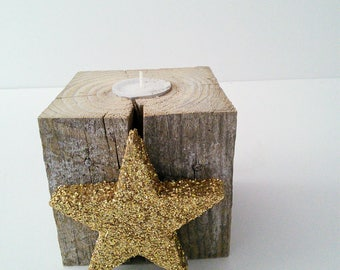 Cute Reclaimed Wood Tealight Candleholder