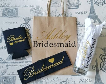 Bridesmaid gift set - maid of honor gift - will you be my bridesmaid - will you be my maid of honor - personalized wedding - custom bridal