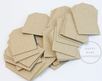 """Chipboard Tags, Lightweight Chipboard, 2"""" x 1-5/16"""", Small Tag, Recycled Material, Kraft Tags, Chipboard, Price Tags, Favor Tags, Gift Tags"""