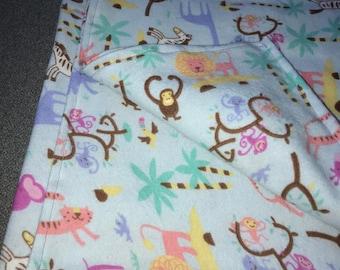 "40"" Flannel Receiving Blanket - It's a jungle!"