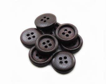 Dark Brown Buttons, 15x3mm Brown Buttons, 10pcs Round Buttons, Sewing Buttons, Wood Buttons, Crochet Buttons, DIY Buttons