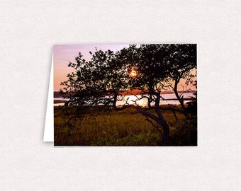 Bogue Sound Sunset Emerald Isle NC Note Cards 5x7 Blank Greeting Card Landscape Photography Photo Card with envelopes