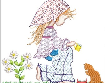 HOLLY HOBBY feeding kitty machine embroidery download 3 diff sizes ( 4x4 5x5 6x6)