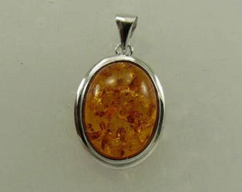 Amber 15.7 mm x 11.7 mm Pendant with Sterling Silver