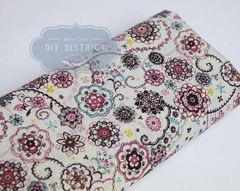Purple mandala floral Japanese fabric