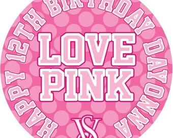 Love Pink Victoria's Secret Personalised Lollipop party favors