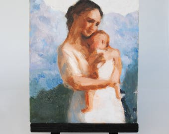 Mom and Baby with Mountains Original Oil Painting