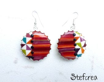"Earrings Silver ""capsule cake stripes triangles"" polymer clay"
