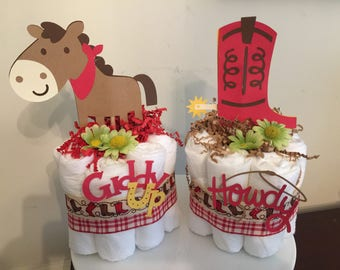 Cowboy Western Mini Diaper Cakes