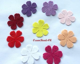 36 Spring Felt Flowers (3 sizes) D , Felt Flowers Shape, Filz Blumen