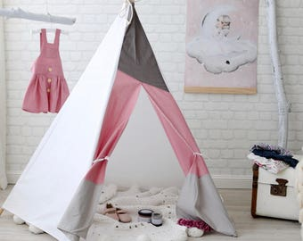 Teepee, Blush Pink and Grey  (Playtent, Kids Teepee, Tipi)
