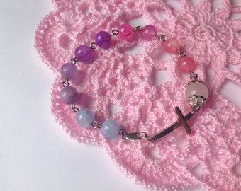 Catholic Rosary Bracelet Handmade Rosary Prayer Beads Bracelet First Communion Baptism Gift Birthday Mother Day Gift for Mom