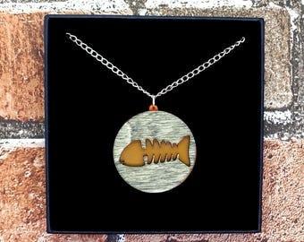 Fluorescent Orange Dead Fish Skeleton Wood & Acrylic Necklace