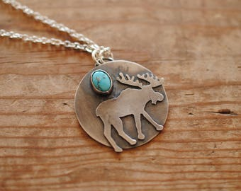 Turquoise & Moose Pendant | Sterling Silver | Necklace