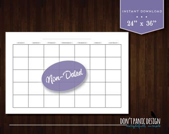 "Large Blank Printable Monthly Wall Calendar - 24"" x 36"" -  Professional Non-Dated Monthly Wall Calendar - Instant Download Calendar"