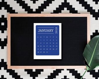 2018 Printable Desk Calendar - Modern Color Block 12 Month Calendar, Office Calendar, Wall Calendar - 2018 Instant Download Calendar