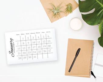 2018 Printable Monthly Calendar - Fun Wall or Desk Calendar - Home or Office organizing - 2018 Instant Download Calendar