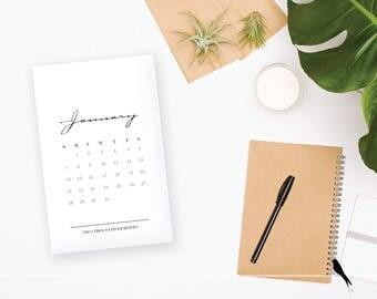 2018 Printable Monthly Calendar - Elegant Black 12 Month Desk Calendar - Home Organizing - 2018 Instant Download Calendar