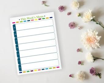 Printable Menu Planner - Fun Colorful Menu Planner Sheet - Dinner Planning, Meal Prep Planner, Dinner Menu - Instant Download