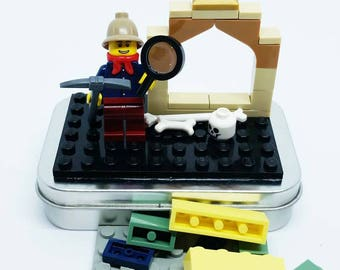 Brick Archaeologist On-the-Go Travel Play Set - Real LEGO Bricks - FREE SHIPPING! Kid travel, party favor, wedding kid table activity!