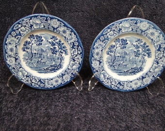 """TWO Staffordshire Liberty Blue Bread Plates 5 7/8"""" Set of 2 EXCELLENT!"""