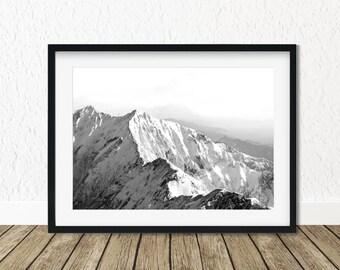 Mountain Range, Mountain Print Art, Mountain Landscape, Snow Mountain, Mountain Scenery, Foggy Mountains, Peaks Art Print