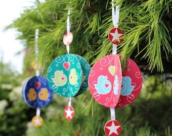Card Baubles - Festive Party Decorations x3