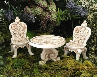 Miniature Fancy Table and Chairs - 3 pc set!