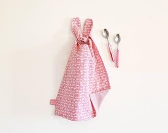 Stylish rabbit bib , pink bib , bunny bib for a special baby shower gift , reversible bib , rabbit , pink , kids napkin , liberty napkin