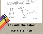 "Coloring Card Congrats Animal Anteater Penguin Bird 5.5""x8.5"" INSTANT DOWNLOAD PDF"