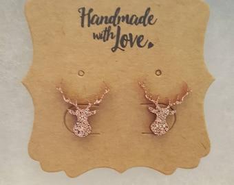 Deer earrings rose gold glitter