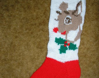 Hand knit personalized Christmas stocking