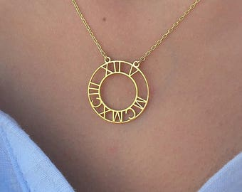 Roman Numeral Necklace-Gold Personalized Disc Necklace-Gold Initial Disc Necklace-Engraved Disc Necklace-Personalized Gift