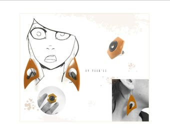 Set earrings and ring ochre and black