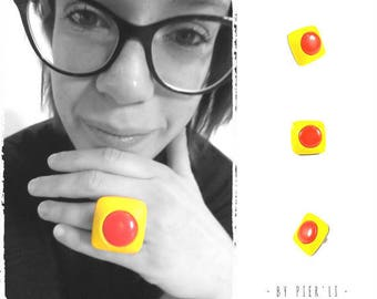 Adjustable square ring in red and yellow PIER'LI