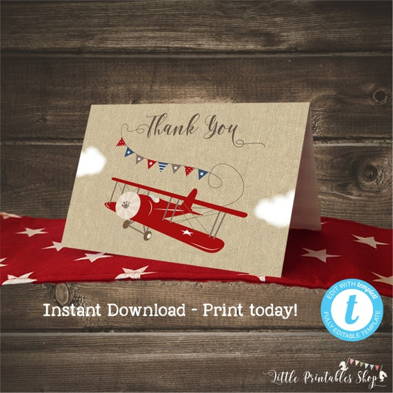 Airplane Thank You Cards For A Boy Birthday Instant Download