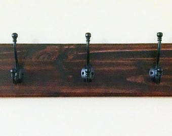 "Coat/Backpack/Hat/Handbag Rack ""Beveled Edge Wood"" With Large Heavy Duty Stylish Double Hooks - Your Choice of Color/Hooks"