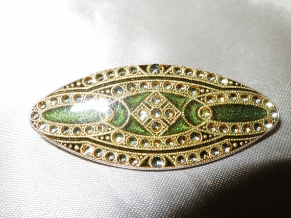 Gorgeous vintage Deco green and gold enamel rhinestone brooch made in France