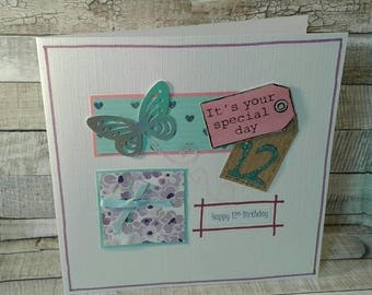SALE / REDUCED / CLEARANCE / 12th birthday cards / age 12 / age Cards / birthday cards / handmade cards