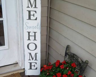 Home Sweet Home Extra Large Porch Sign Vertical Wood Sign Entryway Sign Distressed Wood Rustic Primitive Decor Front Door Housewarming Gift