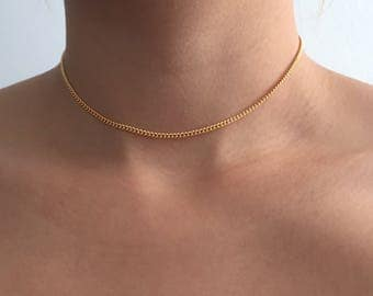 chain choker necklace, silver choker